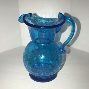 Other - Vintage Crackle Glass Mini Pitcher